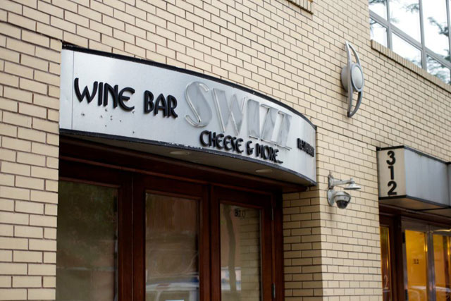 The old signage for Swizz Wine Bar & Restaurant