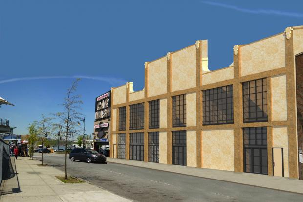 A rendering of the future exterior of the former H&H Bagels factory