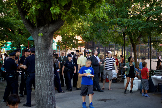 NYPD officers at the Night Out Against Crime
