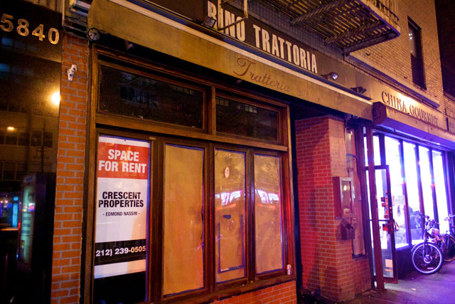 The exterior of the now-closed Rino Trattorina