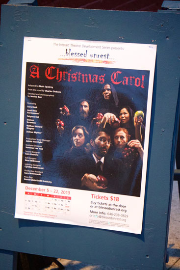 The poster for the performance of A Christmas Carol