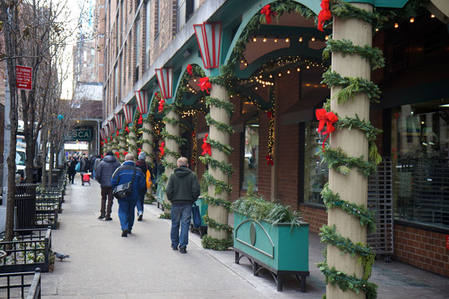 W 43rd St decorated for christmas