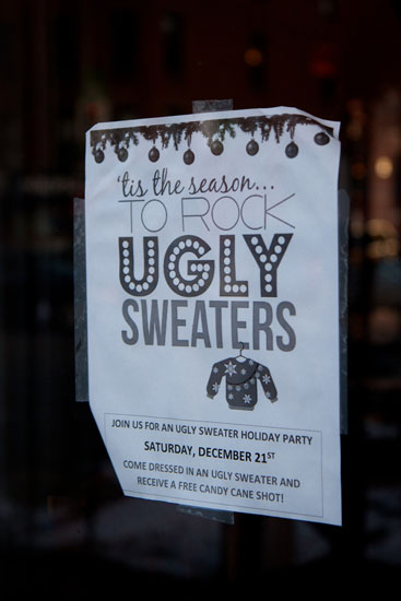 The flyer for the Ugly Sweaters Party at Mickey Spillane's