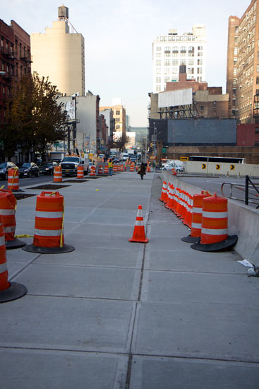The area for the pedestrian plaza on W 36th St