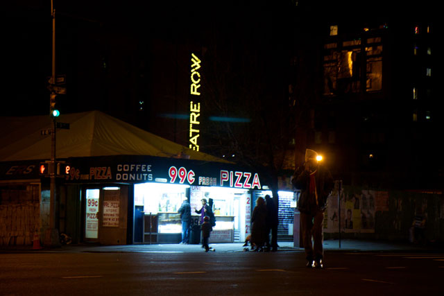 The now-closed 99c pizza store at night