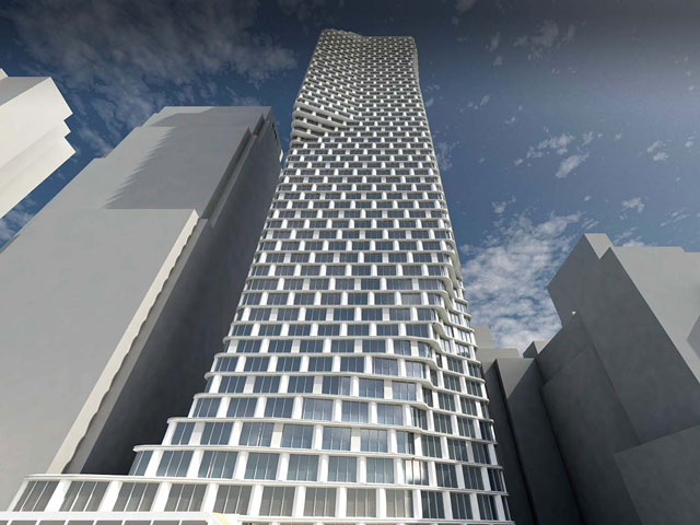 A rendering of the future tower at the site of Roseland