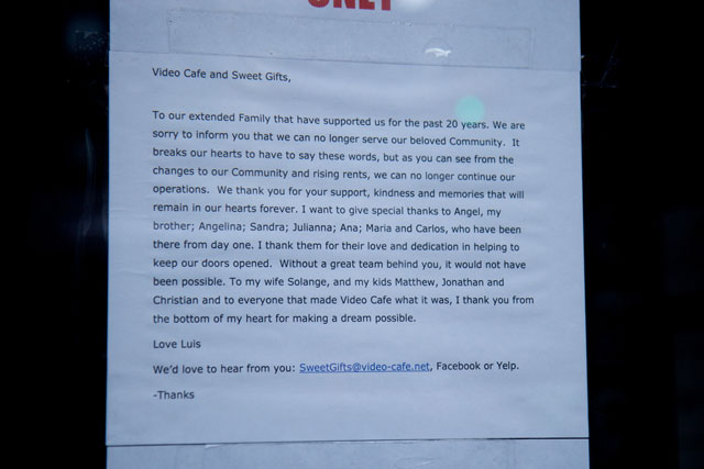 The notice announcing the closure of Sweet Gifts at Video Cafe