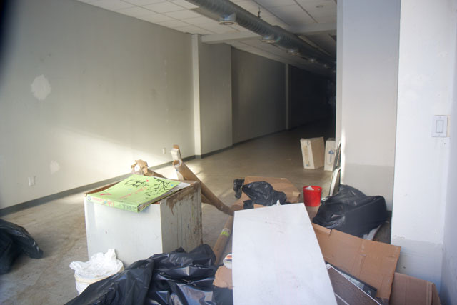 The empty interior of Epstein's Paint Center's former location