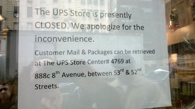 A notice about the location to pickup mail at the closed UPS Store