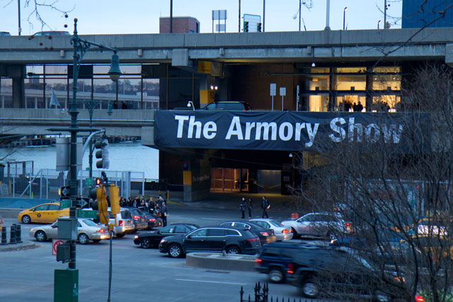 The banner at the entrance to the Armory Show