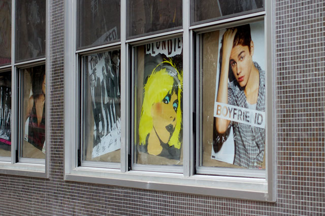 Posters in the windows at B-Side