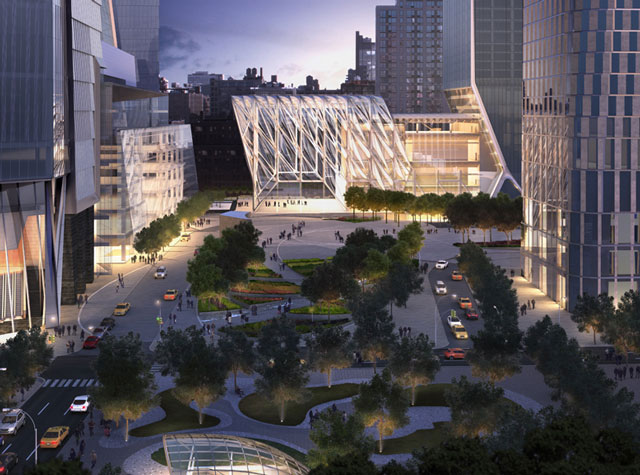 A rendering of the plaza at Hudson Yards