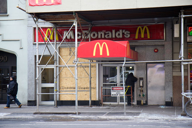 The exterior of the closed McDonalds after the fire