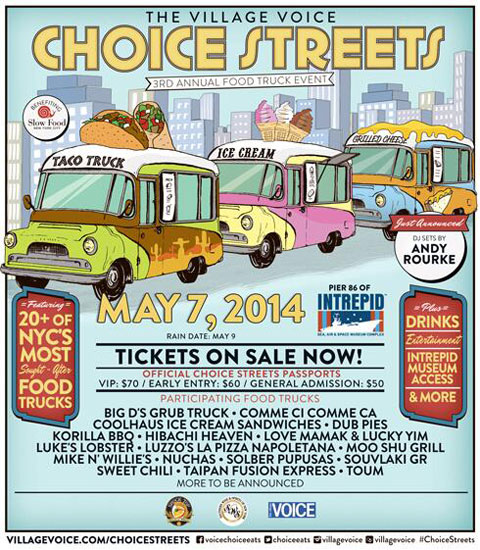 The flyer for the Village Voice Choice Streets