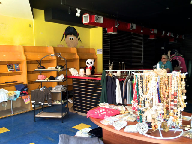 "The items for sale at the Video Cafe ""thrift shop"""