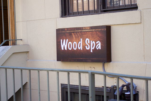 The signage at Wood Spa