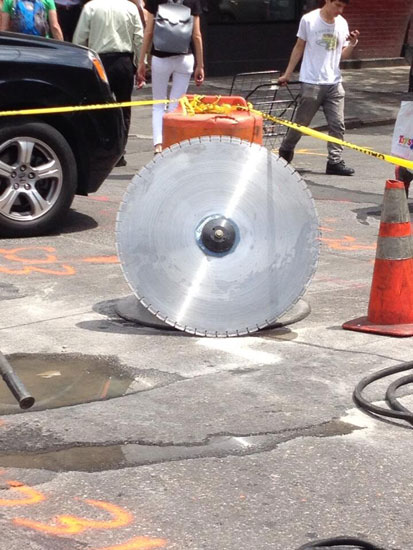 The circular saw blade that injured the pedestrian