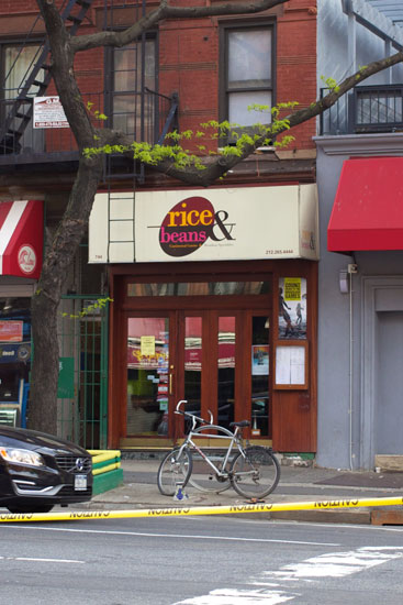 The exterior of the closed Rice & Beans