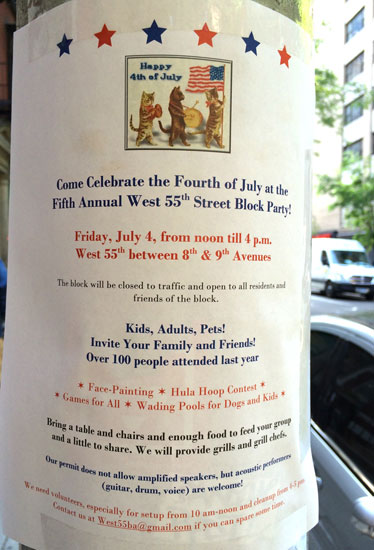 A flyer for the W 55th St Fourth of July events