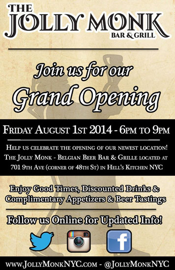 The flyer for the grand opening of The Jolly Monk