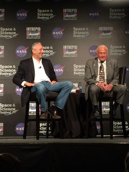 Buzz Aldrin and Mike Massimino at the Space & Science Festival