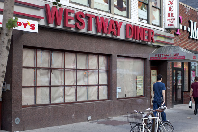 The exterior of the temporarily-closed Westway Diner