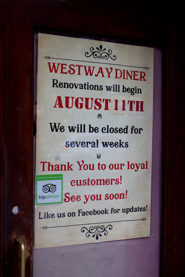 The notice announcing Westway Diner's temporary closure